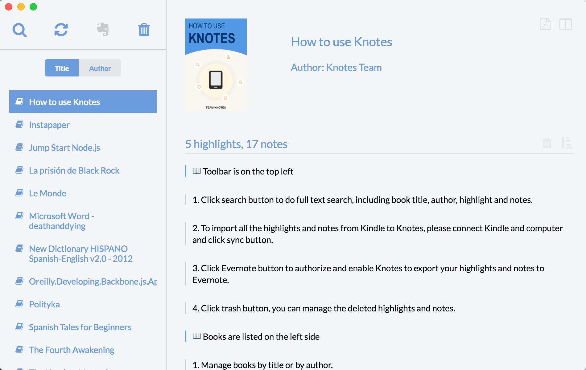 How to use Knotes